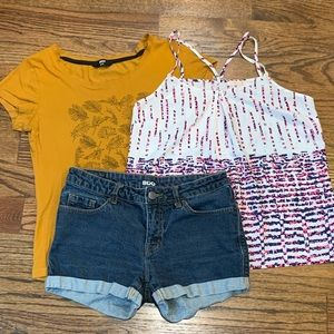 Strappy Tank, Fitted T-Shirt, BDG Denim Shorts
